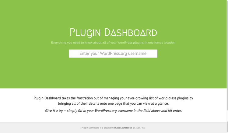 Plugin Dashboard - Home