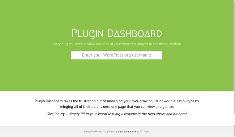 Plugin Dashboard - Home