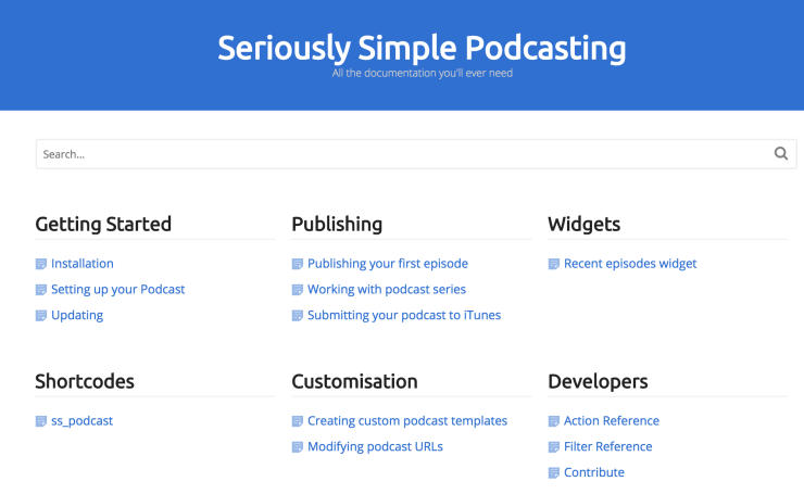 Seriously Simple Podcasting Docs